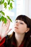 Foglie di verde e della ragazza Fotografia Stock