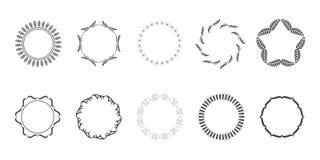 Foglie disegnate a mano di Logo Elements Leaf Vector Vector di vettore di Art Floral Frames Wreaths Floral della clip illustrazione vettoriale
