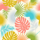 Foglie e fiori tropicali della palma Reticolo senza giunte Immagine Stock