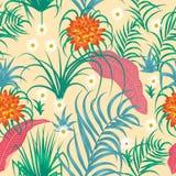 Foglie e fiori tropicali modello senza cuciture, vettore Immagini Stock