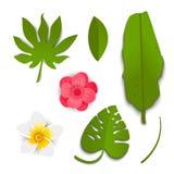 Foglie e fiori tropicali verdi esotici nello stile del taglio della carta royalty illustrazione gratis