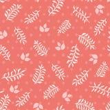 Foglie e ramoscelli rosa sul fondo senza cuciture di struttura di vettore dei punti di corallo illustrazione di stock