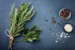 Foglie e spezie dell'alloro Immagini Stock