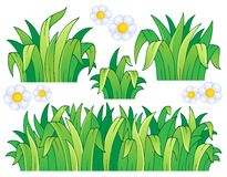 Foglie ed immagine di tema dell'erba Fotografia Stock Libera da Diritti