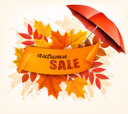 Foglie ed ombrello di Autumn Sale Card With Colorful illustrazione di stock