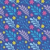 Foglie, fiori, bacche delle piante - illustrazione creativa di vettore Reticolo senza giunte floreale Priorità bassa astratta di  illustrazione vettoriale