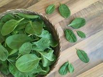 Foglie fresche degli spinaci in un canestro di vimini Priorità bassa di legno Vista superiore Fotografia Stock Libera da Diritti