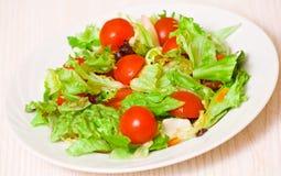 Foglie fresche dell'insalata mista con i pomodori ciliegia Fotografia Stock