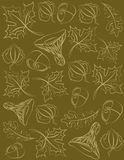 Foglie, ghiande e funghi su un fondo verde oliva Un modello di due colori Immagini Stock Libere da Diritti