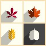 Foglie messe delle icone piane con ombra Illustrazione di vettore Royalty Illustrazione gratis