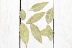 Foglie secche della baia su un fondo di legno Disposizione piana Fotografia Stock Libera da Diritti