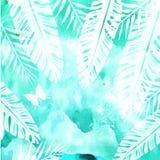 Foglie sul fondo verde dell'acquerello Immagini Stock