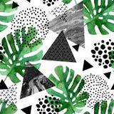 Foglie tropicali dell'acquerello e fondo strutturato dei triangoli illustrazione di stock