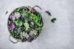 Foglie verdi del cavolo del bambino in colapasta bianca su fondo di pietra grigio Ingrediente per il frullato, le insalate o la s immagine stock
