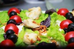 Foglie verdi della lattuga con i pomodori Fotografia Stock Libera da Diritti