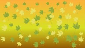 Foglie verdi gialle su un'illustrazione gialla del fondo Fotografia Stock Libera da Diritti