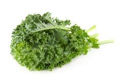 Foglie verdi organiche fresche del cavolo isolate sopra fondo bianco immagine stock