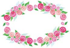 Foglie verdi rosa dei fiori della corona dell'acquerello di vettore royalty illustrazione gratis