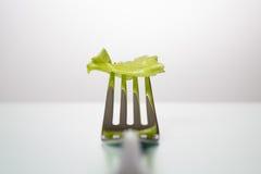 Foglio della lattuga su una forcella su una tabella bianca Immagini Stock