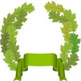 Foglio della quercia e nastro verde Immagine Stock Libera da Diritti
