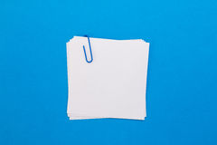 Foglio di carta bianco con la graffetta blu su un fondo blu Fotografia Stock