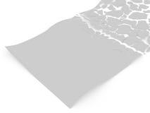 Foglio di carta in bianco la rottura ai peaces Fotografia Stock
