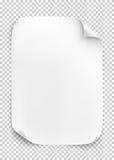 Foglio di carta bianco su fondo trasparente illustrazione vettoriale