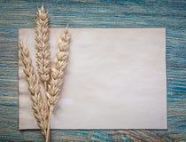 Foglio di carta del pane delle orecchie mature della segale pulito d'annata sul bordo di legno t Immagine Stock Libera da Diritti