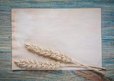 Foglio di carta delle orecchie della segale del grano sul bordo di legno d'annata Immagini Stock Libere da Diritti