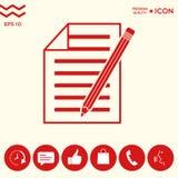 Foglio di carta l'icona della matita e Fotografia Stock