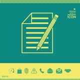 Foglio di carta l'icona della matita e Fotografie Stock