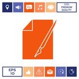 Foglio di carta l'icona della penna stilografica e Immagini Stock