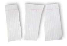 Foglio di carta lacerato da un taccuino della scuola Fotografia Stock Libera da Diritti