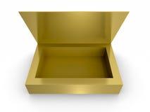 Foglio di cartone aperto dorato del regalo su fondo bianco Fotografie Stock Libere da Diritti
