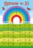Foglio di lavoro dell'aggiunta con l'arcobaleno nel fondo illustrazione vettoriale