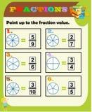 Foglio di lavoro delle frazioni, rassegna della frazione, pratica della frazione, frazioni educative e equivalenti, attivit? di p illustrazione vettoriale