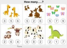 Foglio di lavoro di istruzione - contare oggetto per i bambini royalty illustrazione gratis