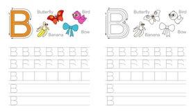Foglio di lavoro di rintracciamento per la lettera B illustrazione di stock