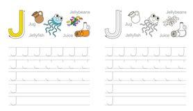 Foglio di lavoro di rintracciamento per la lettera J illustrazione di stock