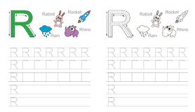 Foglio di lavoro di rintracciamento per la lettera R royalty illustrazione gratis
