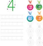 Foglio di lavoro di rintracciamento quattro, 0-9 di numero immagini stock libere da diritti