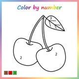 foglio di lavoro per istruzione pagina della pittura, colore dai numeri gioco per i bambini prescolari illustrazione vettoriale