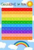 Foglio di lavoro di per la matematica per il conteggio a 99 Immagini Stock