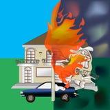 Fogo ardente da casa Foto de Stock