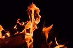 fogo brilhante em um fundo preto na noite foto de stock