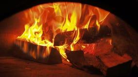 Fogo da fornalha Videoclip de lenha ardente na chaminé Queimadura da lenha no forno 30fps HD completo vídeos de arquivo
