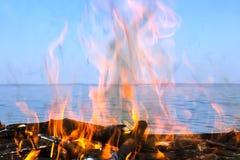 Fogo da madeira com uma opinião do mar Imagens de Stock Royalty Free