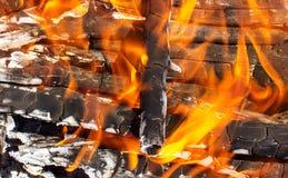 Fogo da madeira que queima a chama vermelha brilhante Imagem de Stock Royalty Free