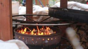 Fogo da madeira que queima-se no soldador filme