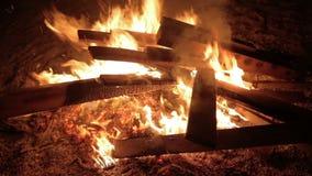 Fogo da queimadura com madeira no acampamento da praia vídeos de arquivo